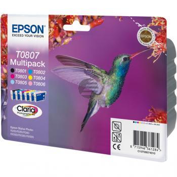 Epson Tinte gelb Cyan Cyan light Magenta Magenta light schwarz 6-er Pack (C13T08074011, T0807)