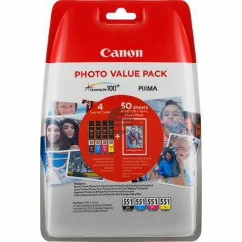 Canon Tintenpatrone Fotopapier Hochglanz DIN A4 gelb cyan magenta schwarz (6508B005, CLI-551BK CLI-551C CLI-551M CLI-551Y)