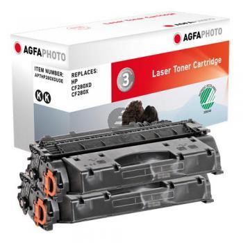 Agfaphoto Toner-Kartusche 2 x schwarz 2-Pack (APTHP280XDUOE) ersetzt CF280XD / 80XD
