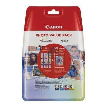 Canon Tinte Fotopapier 100x150mm gelb Cyan Magenta schwarz (2933B010, CLI-521BK CLI-521C CLI-521M CLI-521Y)