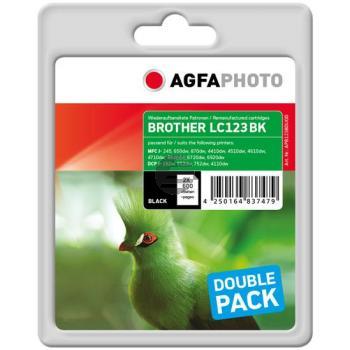 Agfaphoto Tintenpatrone 2 x schwarz (APB123BDUOD) ersetzt LC-123BK
