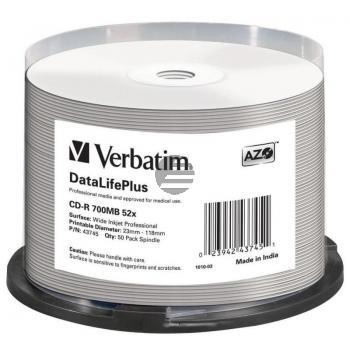 VERBATIM CDR80 700MB 52x (50) SP 43745 weiss bedruckbar keine ID