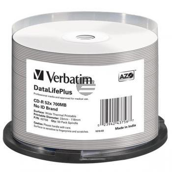 VERBATIM CD-R80 700MB 52x (50) CB 43756 breit thermo bedruckbar keine ID