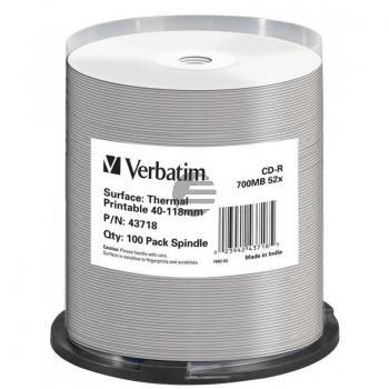 VERBATIM CD-R80 700MB 52x (100) CB 43718 thermo bedruckbar keine ID