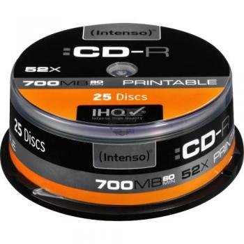 INTENSO CDR80 700MB 52x (25) CB 1801124 Cake Box bedruckbar