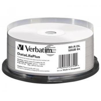 VERBATIM BD-R 50GB 6x (25) SP 43749 Spindel Dual Layer bedruckbar