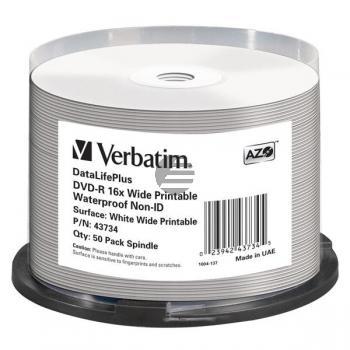 VERBATIM DVD-R 4.7GB 16x (50) CB 43734 Cake Box bedruckbar