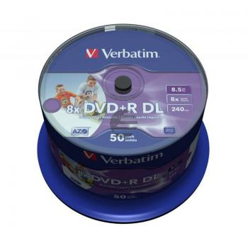 VERBATIM DVD+R 8.5GB 8x (50) CB WEISS 43703 Cake Box tintenstrahlbedruckbar