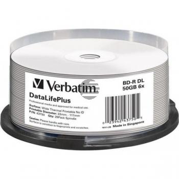 VERBATIM BD-R 50GB 6x (25) CB WEISS 43750 breit thermal bedruckbar keine ID