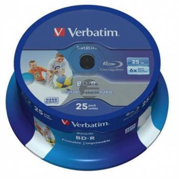 VERBATIM BD-R 25GB 6x (25) CB 43811 breit tintenstrahlbedruckbar