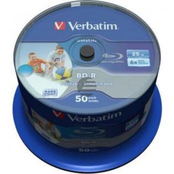 VERBATIM BD-R 25GB 6x (50) CB 43812 breit tintenstrahlbedruckbar