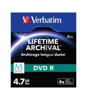 VERBATIM DVD-R 4.7GB 4x (3) SC 43826 Slim Case MDISC