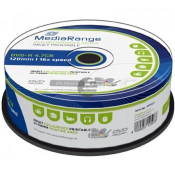 MEDIARANGE DVD-R 4.7GB 16x (25) CB WEISS MR407 Cake Box tintenstrahlbedruckbar