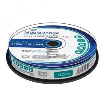 MEDIAR DVD+R DL 8.5GB 8x (10) CB WEISS MR468 Cake Box tintenstrahlbedruckbar