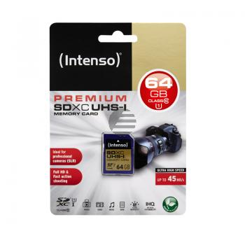 INTENSO SDXC SPEICHERKARTE UHS-I 64GB 3421490 Klasse 10