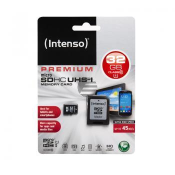 INTENSO MICRO SD SPEICHERKARTE UHSI 32GB 3423480 Klasse 10 mit Adapter