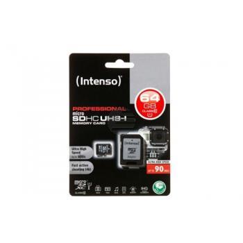 INTENSO MICRO SDHC KARTE UHSI 64GB 3433490 Klasse 10 mit Adapter