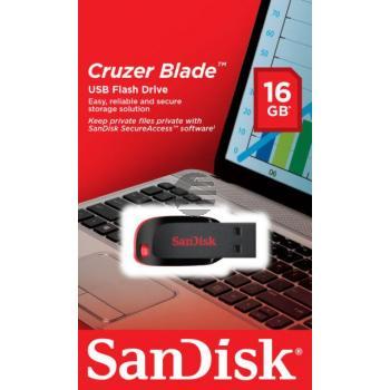 SANDISK CRUZER BLADE USB STICK 16GB SDCZ50-016G-B35 USB 2.0 schwarz