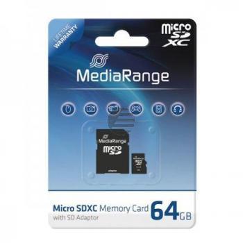 MEDIARANGE MICRO SDXC SPEICHERKARTE 64GB MR955 Klasse 6 mit Adapter