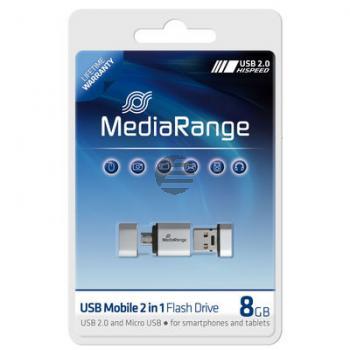 MEDIARANGE OTG USB STICK 8GB MR930 USB Mobil 2in1 silber