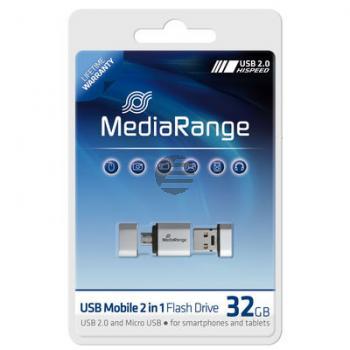 MEDIARANGE OTG USB STICK 32GB MR932 USB Mobil 2in1 silber