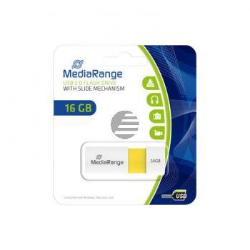 MEDIARANGE USB STICK 16GB GELB MR972 Schiebemechanismus