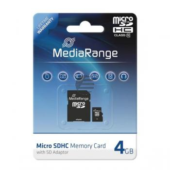 MEDIARANGE SDHC SPEICHERKARTE 4GB MR956 Klasse 10 mit SD Adapter