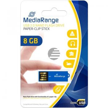 MEDIARANGE NANO USB STICK 8GB MR975 blau mit Bueroklammer-Funktion