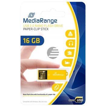 MEDIARANGE NANO USB STICK 16GB MR976 gelb mit Bueroklammer-Funktion