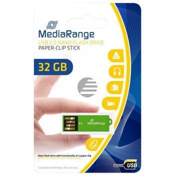 MEDIARANGE NANO USB STICK 32GB MR977 gruen mit Bueroklammer-Funktion