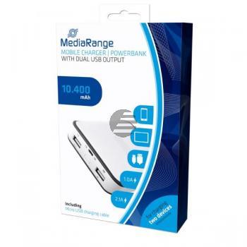 MEDIARANGE MOBILE POWERBANK WEISS MR744 10400mAh 2fach USB Port