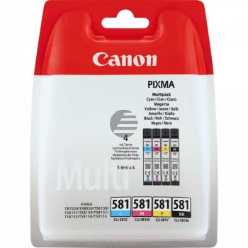 Canon Tintenpatrone gelb cyan magenta schwarz (2103C004, CLI-581BK CLI-581C CLI-581M CLI-581Y)
