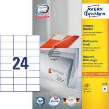 AZ Etiketten 3474 weiß Inh.2400 70 x 37 mm Avery Zweckform