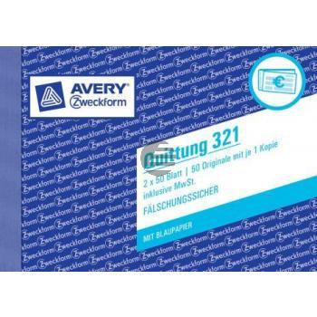 AZ Quittungen 321 A6 quer weiß/weiß Inh.2 x 50 Blatt Avery Zweckform