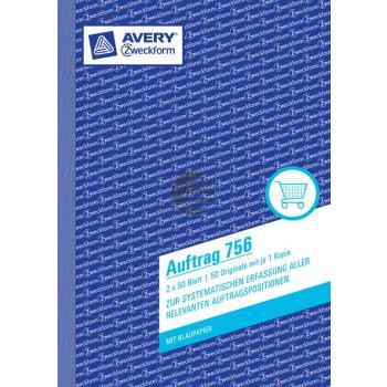 AZ Auftragsbuch 756 A5 hoch weiß/weiß Inh.2 x 50 Blatt Avery Zweckform