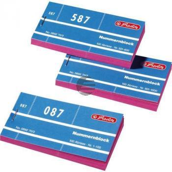 Herlitz Nummernblöcke 1-1000 sortiert 1000 Blatt 105 x 50 mm
