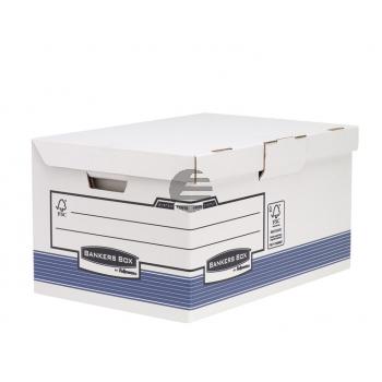 Fellowes Archivbox A4 Maxi Bankers Box mit Klappdeckel, blau/weiß