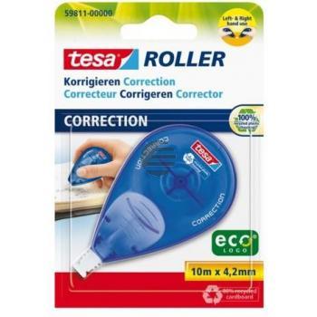 Tesa Korrekturroller Eco Logo 10 m x 4,2 mm weiß Seitwärtsroller Blister