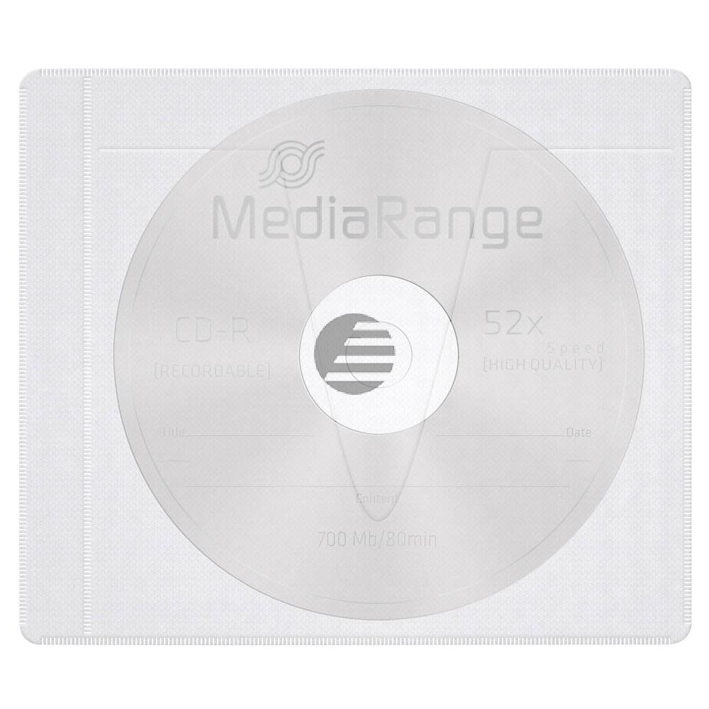 MEDIARANGE CD VLIESTASCHEN (25) WEISS BOX69 mit Lasche + klebende R?ckseite