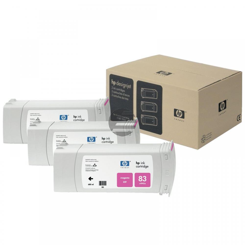 HP Tintenpatrone UV-Tintensystem 3 x magenta (C5074A, 83)