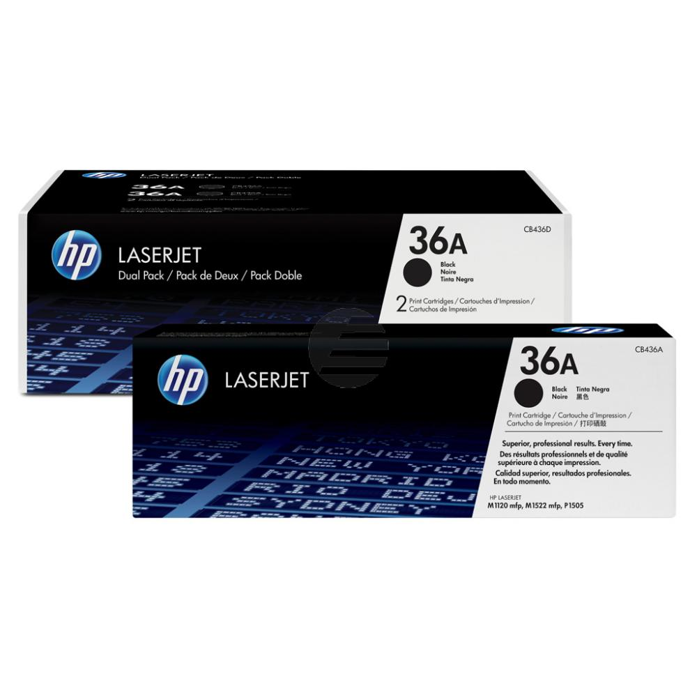 HP Toner-Kartusche 2x schwarz 2-er Pack (CB436AD, 36AD)