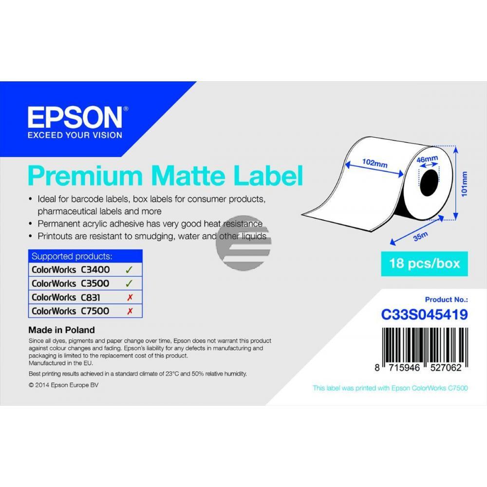 Epson Premium mattes Endlos-Etikett weiß (C33S045419)