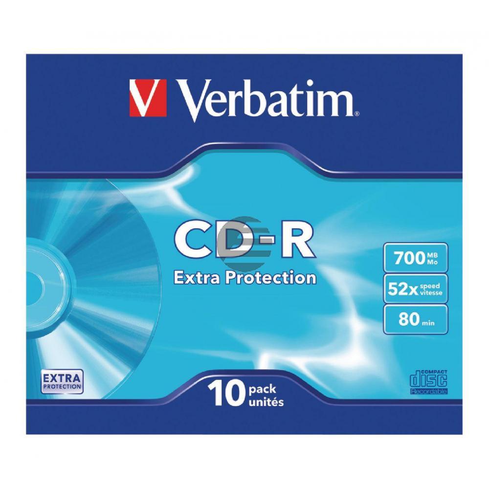 VERBATIM CDR80 700MB 52x (10) SC 43415 Slim Case extra Schutz
