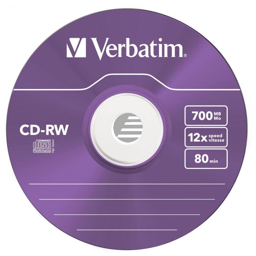 VERBATIM CDRW80 700MB 12x (5) SC 43167 Slim Case 5x-12x