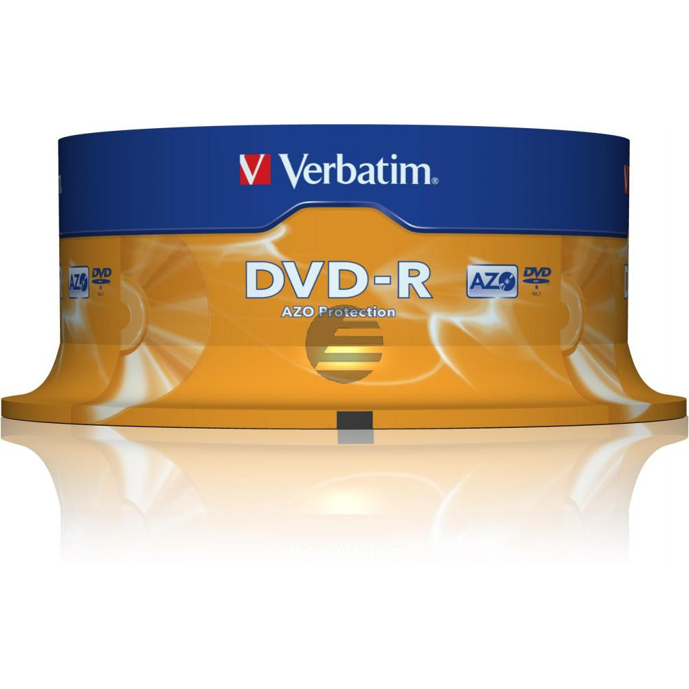 VERBATIM DVD-R 4.7GB 16x (25) SP 43522 Spindel matt silber