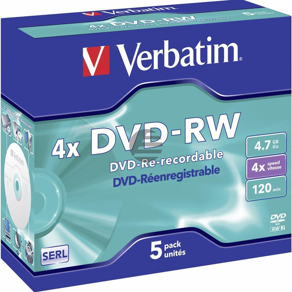 VERBATIM DVD-RW 4.7GB 4x (5) JC 43285 Jewel Case matt silber