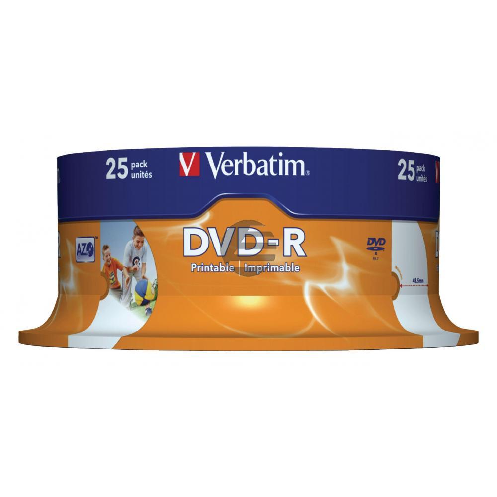 VERBATIM DVD-R 4.7GB 16x (25) SP 43538 Spindel tintenstrahlbedruckbar