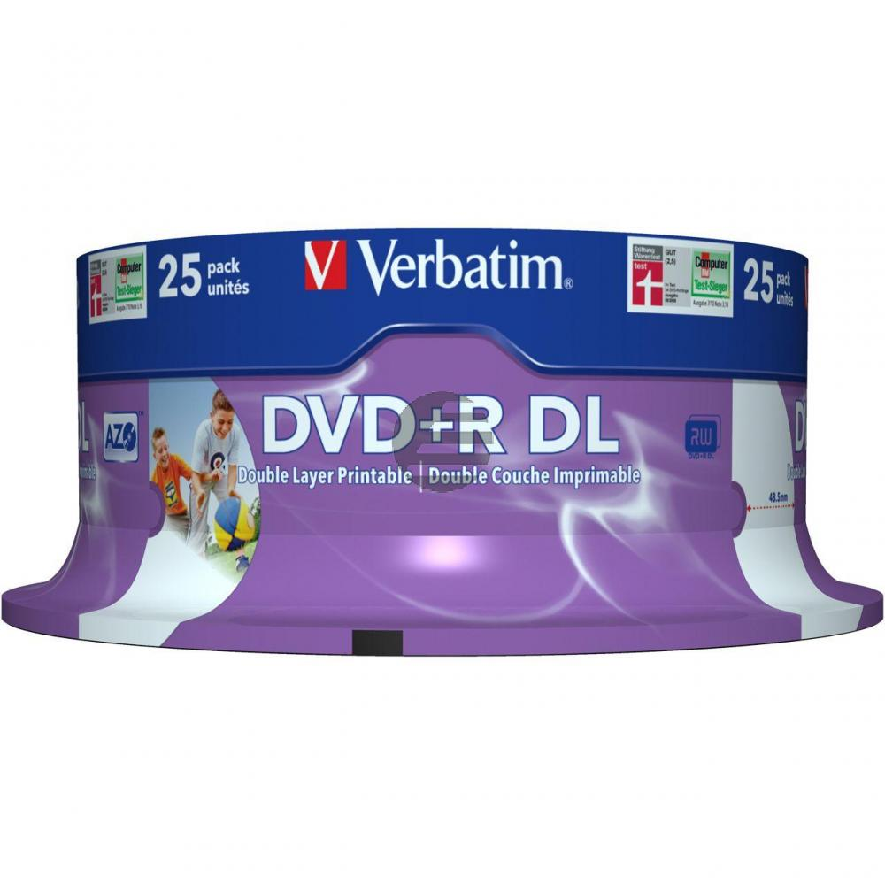 VERBATIM DVD+R 8.5GB 8x (25) SP 43667 Spindel Double Layer bedruckbar
