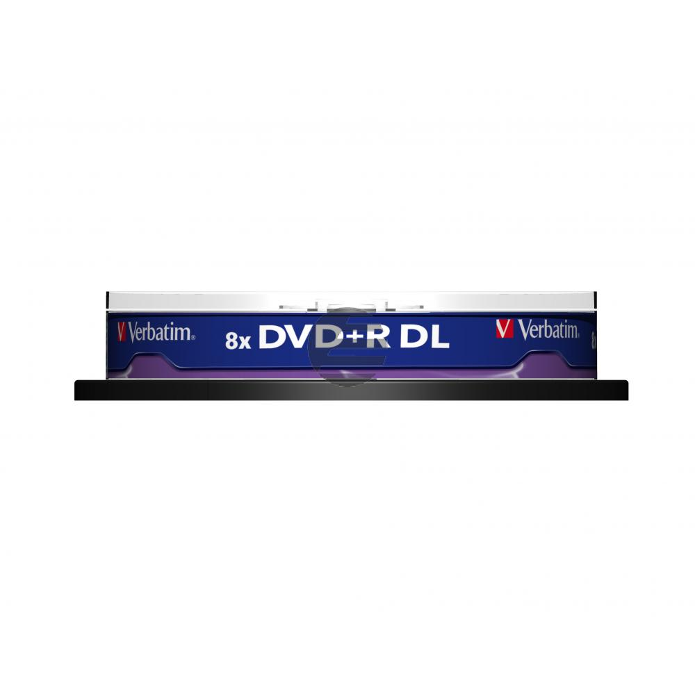 VERBATIM DVD+R 8.5GB 8x (10) SP 43666 Spindel Double Layer matt silber