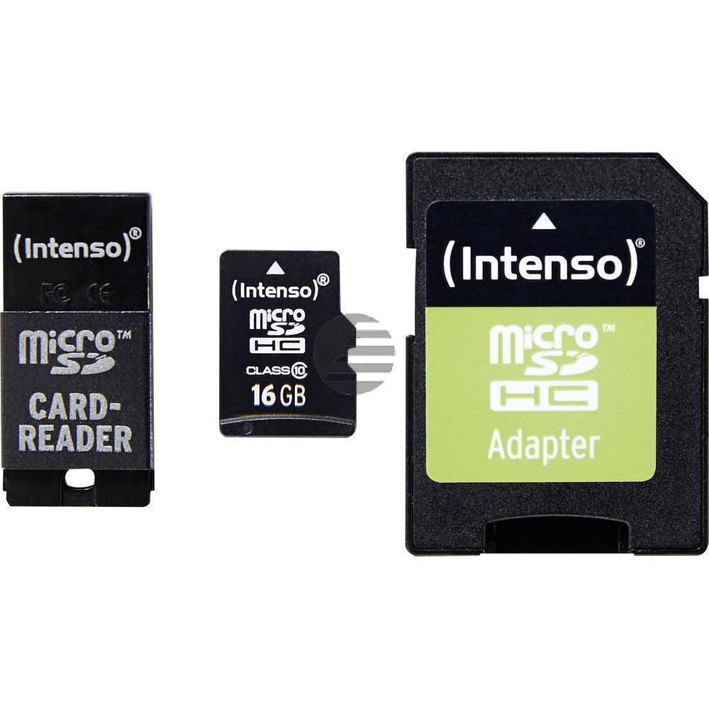 INTENSO MICRO SD SPEICHERKARTE 16GB 3413770 Klasse 10 mit Adapter
